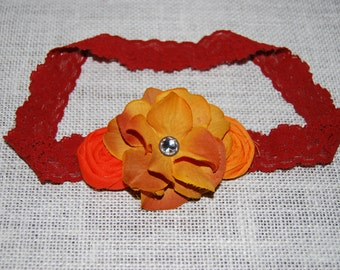 Burnt  Orange Dark Yellow Rosettes  Headband Silk Flower Headband for girls toddlers babies infants