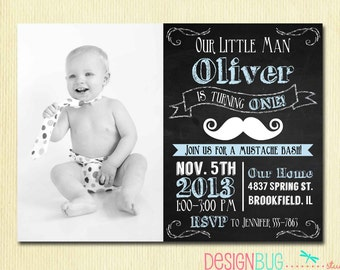 Chalkboard Little Man Mustache Invitation - Baby Boy Moustache Bash - 1, 2, 3, 4 year old - 1st, 2nd... Birthday - Custom Photo Invite