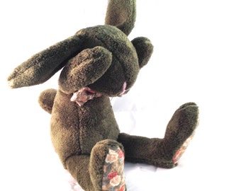 Plush bunny, green, floral, rabbit, stuffed,  Easter bunny - baby shower toy