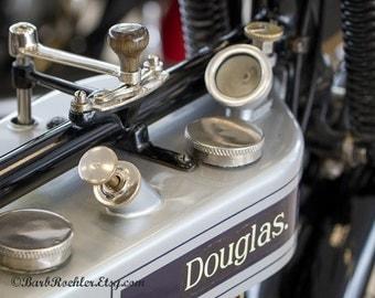 Vintage Douglas Bike - Rustic Wall Art - Motorcycle Art Prints - Retro Print - Motorcycle Photography - Garage Art - Blue - Gray - 8x10