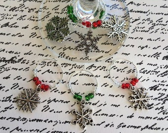 Let it Snow Wine Charm Set of 6 - Snowflake Charms with Red and Green Beads