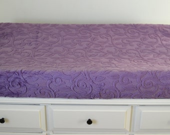 Violet Vine Cuddle Changing Pad Cover - Purple Vine Contoured Minky Cover - Personalized Changing Pad Cover