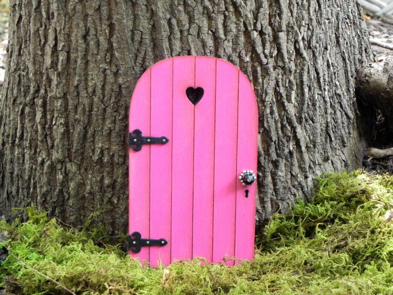Fairy door fairy garden miniature wood bright azalea pink with for Lil fairy door sale