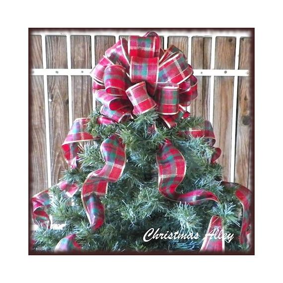 Christmas Tree Decorations Red Ribbon : Christmas tree topper red plaid ribbon by christmasalley