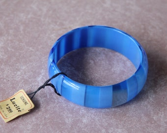 1960's Vintage Lucite Striped Bangle New with Tags, New Old Stock