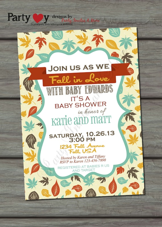 fall baby shower invitation fall leaves fall colors digital file