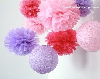 SALE - My Little Princess - 6 Tissue Paper Pom Poms and 2 Paper Lantern Fast Shipping - Wedding / Baby Shower / Party / Nursery Decor