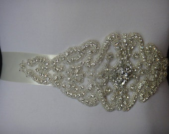 1920's Bridal Belt, 1920's bridal, Crystal Bridal Sash Belt, Rhinestone Bridal Belt, Beaded Bridal Belt, Crystal Bridal Belt