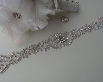 Swarovski Crystal Bridal Sash Belt, Rhinestone Bridal Belt Sash, Bridal Sash Belt, Beaded Bridal Sash Belt