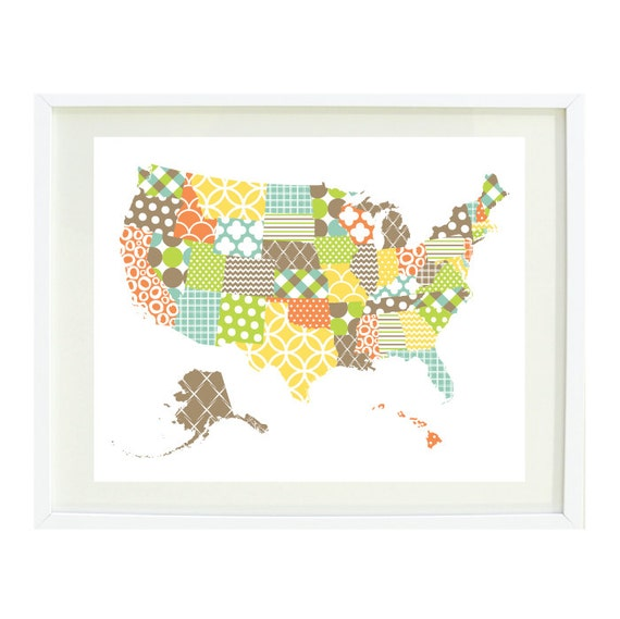 United States Of America Map Art Print-8x10-Patchwork With