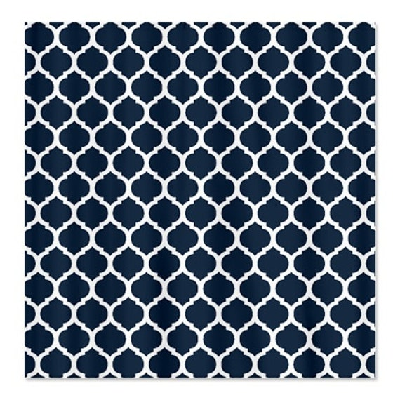 Custom Quatrefoil Shower Curtain Navy Blue And White Or Choose