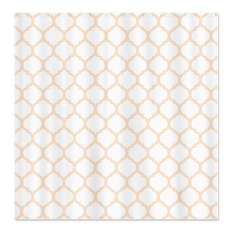 Custom Quatrefoil Shower Curtain Linen And White OR Choose