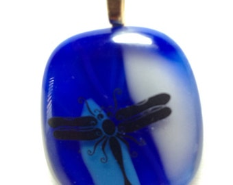 Shades of blue with a black dragonfly fused glass pendant