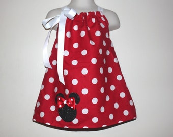 Red Minnie Mouse Dress and Hair Bow Set