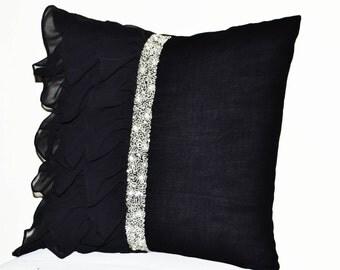 black ruffled sequin throw pillow 18x18 decorative pillow black cushion cover gift pillow - Black Decorative Pillows