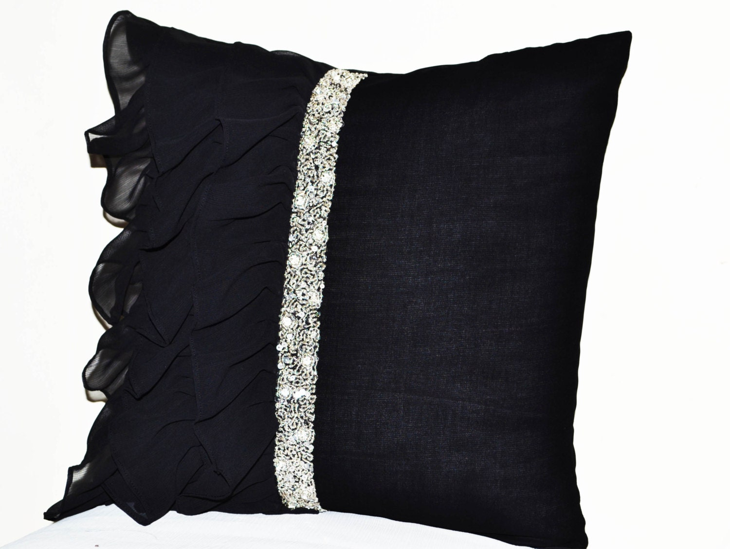 Black ruffled sequin throw pillow 18x18 Decorative Pillow