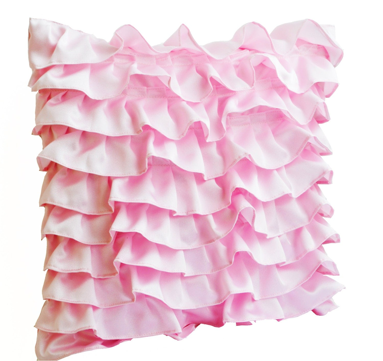Decorative pillow in Soft Pink Satin with Ruffles Decorative
