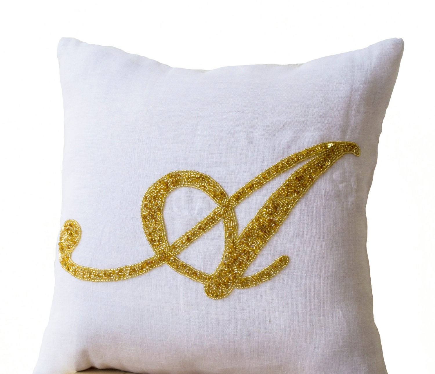 Decorative pillow Customized monogram pillow Gold by AmoreBeaute