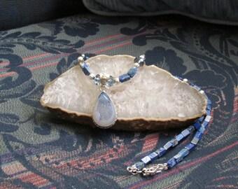 Druzy Agate, Lapis Lazuli, Swarovski Crystal Necklace