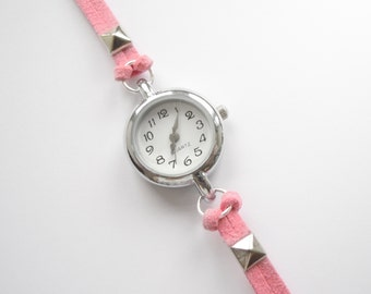 Pastel Pink Suede Bracelet Watch with silver pyramid spikes