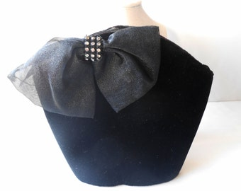 Black Evening Bag, Vintage Purse, Black Velvet Purse, Black Evening Purse, Glamorous Purse, Elegant Handbag  EB-0247