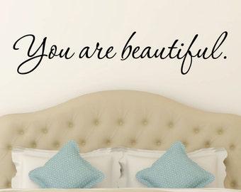 You Are Beautiful Decal - Bathroom Decal - Boys Room Decal - Girls Room Decal - Decals - Kids Room Decals - Bathroom Decor - Home Decor