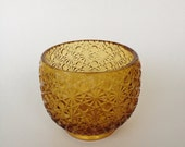 Amber pressed glass bowl vase