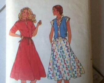 """Butterick Dress Pattern 6450 Size: 10, Bust 32"""", Waist 25"""", Hip 34"""""""