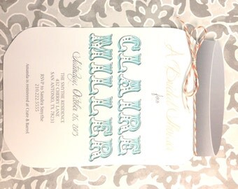 Mason Jar Shower Invitation Teal and Gray