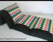 Chevron Pillow Bed, Pillow Bed, Teen Girl Pillow bed, Children's Pillow Bed, Pillow Mattress, Sleepover Bed
