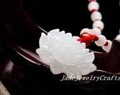 Tibetan Buddhism Real white jade jadeite fine carving buddha Lotus / buddha Lotus flower charm jade pendant