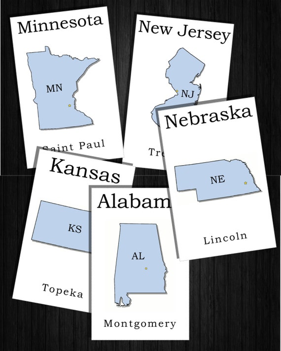 Decisive image regarding 50 states flash cards printable