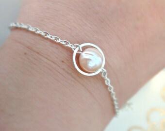 Pearl Bracelet, Freshwater Pearl Bracelet, Single Pearl Bracelet,Silver Pearl Bracelet, Simple, UK Seller, Christmas Gifts, Bridesmaid Gifts