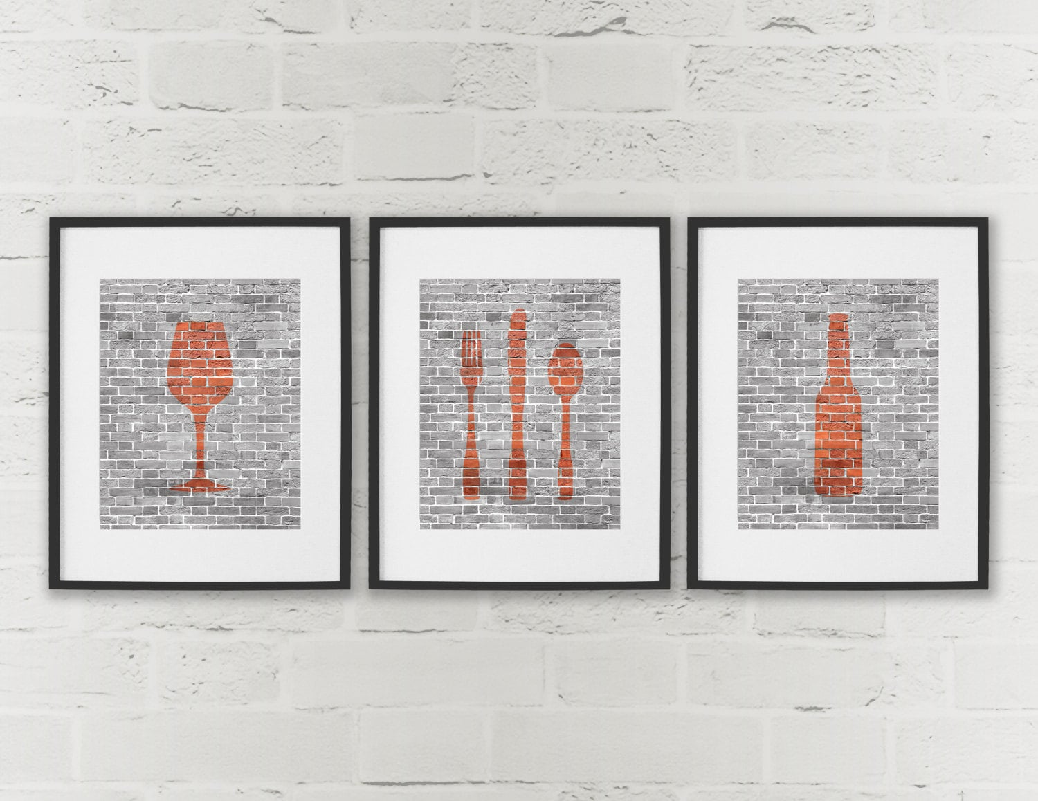 Dining room art kitchen prints beer wine cutlery set of 3 for Dining room posters