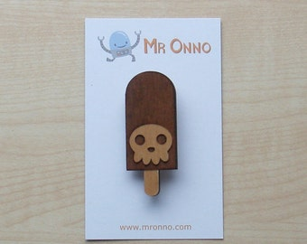 Death Ice Cream Badge - Limited Edition Wood Laser Cut Design