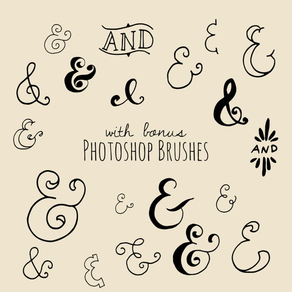 Clip Art Chalkboard Ampersand Symbol Photoshop Brushes