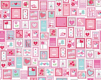 Lovey Dovey by Doodlebug Design Inc. 100% cotton, Red- Stamps Quilting Supplies