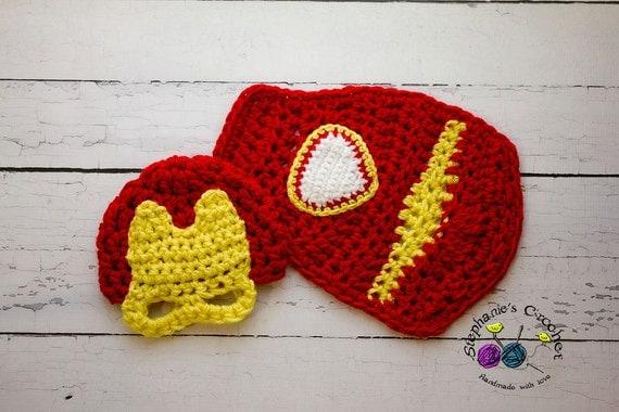 Items similar to Crochet Newborn baby boy Iron man hat and ...