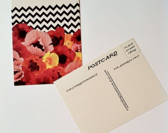 Poppy Chevron Collage // Postcard // Eco-friendly