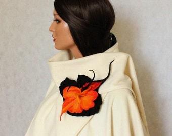 Felt flower Felted brooch Orange black brooch felt Fancy flower Felt orange brooch Accessories woman