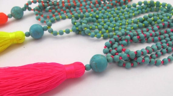 Bright Beaded Tassel Necklace - Aqua Beaded - Neon Brights