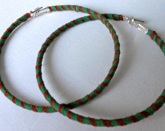 Handmade Suede Striped Hoop Earrings