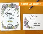 Floral Oasis: Printable Wedding Invitation and RSVP Card Suite - Hand Painted and Hand Drawn Wedding Invitation