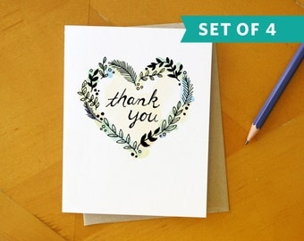 Green Heart Thank You Card: Hand Drawn and Hand Painted Card Set / Set of 4