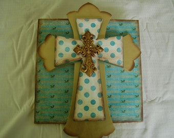 MERRY CHRISTMAS Layered Cross on Sign(L124)