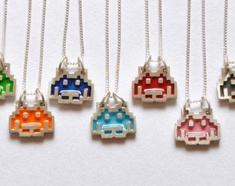 Silver SPACE INVADER PENDANT with enamel, includes Silver Chain