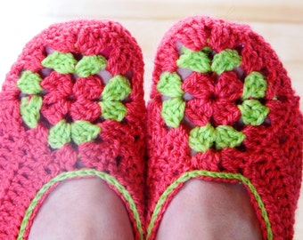 Instant download - PDF crochet pattern - Summer crochet slippers #18