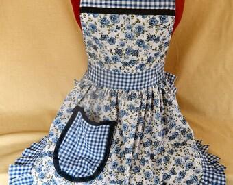 Retro Vintage 50s Style Full Apron / Pinny - Blue & White Roses
