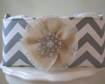 Fabric Bin with blooming brooch