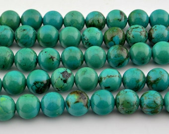 "16""   Viridian  Turquoise  Round   Bead -- 8MM"